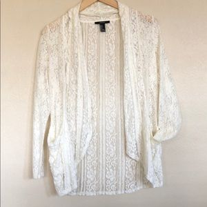 Ivory floral lace cardigan